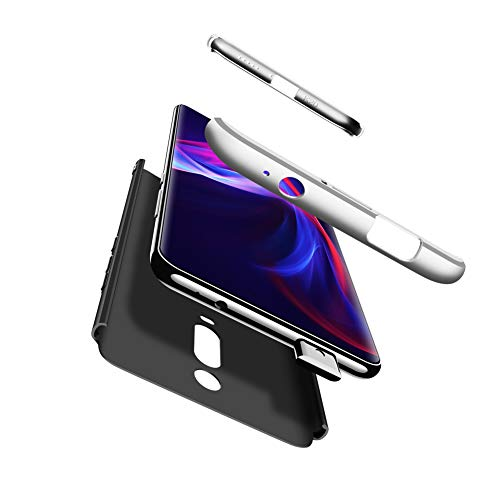 Compatible Xiaomi Redmi K20/K20 Pro Funda(2018)Carcasa 360° ultra fina Protectora cojín+Vidrio Templado Pantalla Protector,3 in 1 PC Hard Caja Caso Skin Case Cover Carcasa parai Redmi K20 Negro Plata