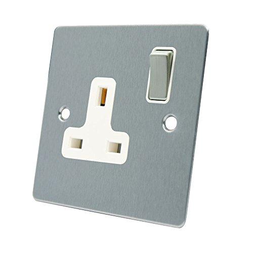 AET FSC1GSOCWS 13A 1-Ebenen-Schalter, Matt verchromt, Flach, mit Weißem Einsatz (Elektrischer Ebene Weißer)