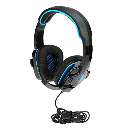 SADES SA-708GT 3.5mm Gaming Kopfhörer Mic Noise Cancellation Musik Headset Schwarz-blau Upgrade Version von SA-708 für PS4 XBOX 360 Tablet PC Handys - 2