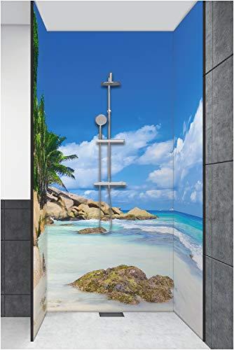 Artland Qualität I Duschrückwand Fliesenersatz Bad Duschwand Motiv Landschaften Küste Foto Bunt D3JN Palmen-Ruhe-Ufer