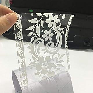 HBOS Création Selbstklebende Bordüre Weiße Transparent Blumen Tapete Bordüren Aufkleber Entfernbare Grenzabziehbild Dekoration für Schaufenster Anzeigen Bad Spiegel Küche Fliesen