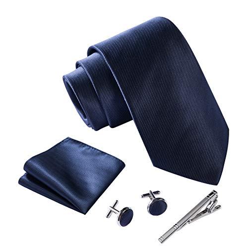 Massi Morino ® Herren Krawatte Set mit umfangreicher Geschenkbox blau blaue dunkelblau naviblau marineblau ozeanblau arktikblau pazifikblau blauekrawatte dunkelblauekrawatte