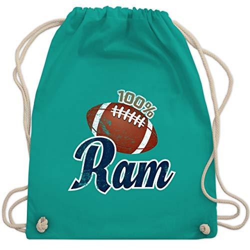 American Football - 100% Ram - Unisize - Türkis - WM110 - Turnbeutel & Gym Bag Rams Sb