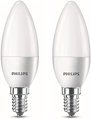 Philips - Pack de 2 bombillas LED, luz blanca cálida, 4 W (equivalente a 25W incandescente), casquillo E14, 220-240V 50Hz,  250 Lumen, no regulable