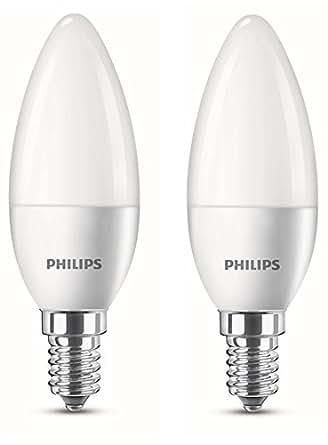 Philips Lot de 2 Ampoules LED Flamme Culot E14 4W Consommés (Équivalent 25W Incandescent) 2700 Kelvin (Blanc Chaud)