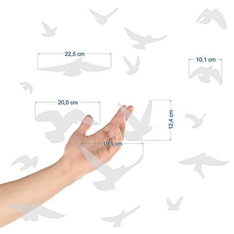 Autocollants anti-collision pour oiseaux - Haute résistance à la pluie, gel, UV's (set de 17 silhouettes d'oiseaux Sablés-dépolis-translucides)