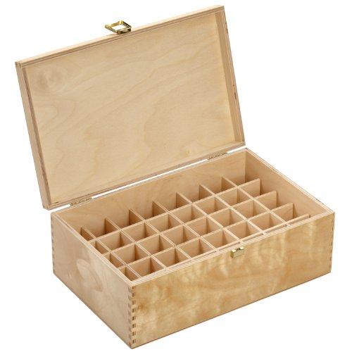 Holzbox aus hellem Birkenholz - für 40 Flaschen (20 ml) - Maße: 288 x 183 x 107 mm (BxTxH) - Lochdurchmesser: 31.5 mm, eckig *** Bachblütenbox,...