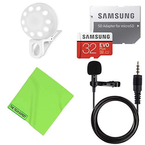 Samsung 32 GB Evo Plus Micro-SD-Karte + professionelles Lavalier-Ansteckmikrofon + Selfie LED Clip-on Licht für Handys Vlogging Mobile Video Kit