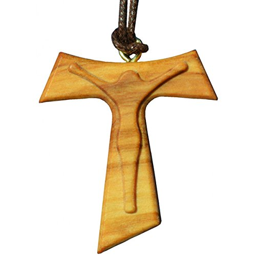 Olivenholz-Kreuz am Band 4cm - Tau Kreuz Anhänger mit Korpus Holz geschnitzt - Kommunion Konfirmation Anhänger