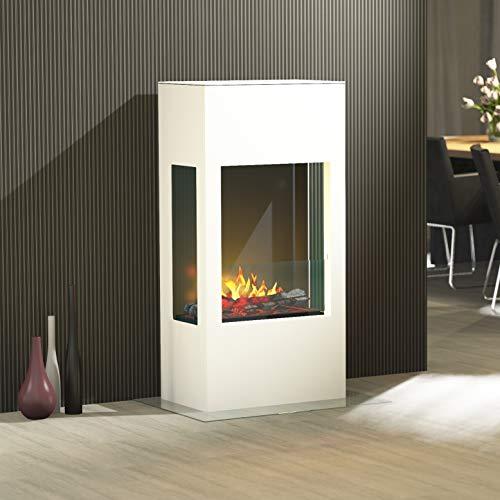 muenkel design Prism 620 - Chimenea eléctrica OPTI-myst de 3 Caras, Color Blanco Puro, Madera Decorativa con Rejilla (Dentada, con calefacción)