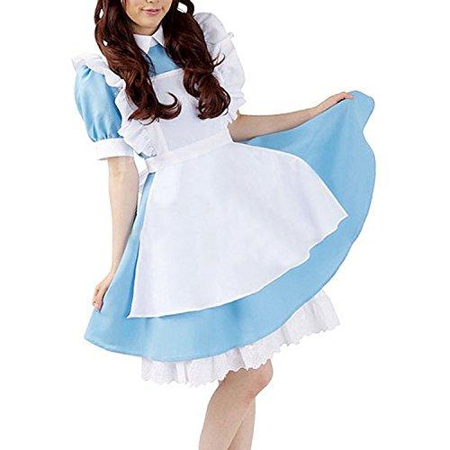 Minetom Neue Alice Im Wunderland Anime Kellnerin Kostüm Lolita Kleider Dienstmädchen Outfit Blau