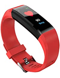 Denret3rgu Reloj Inteligente Deportivo ID115 Plus Podómetro Impermeable Rastreador de Ejercicios Pulsera - Rojo