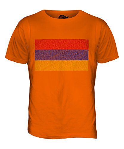 CandyMix Armenien Kritzelte Flagge Herren T Shirt Orange