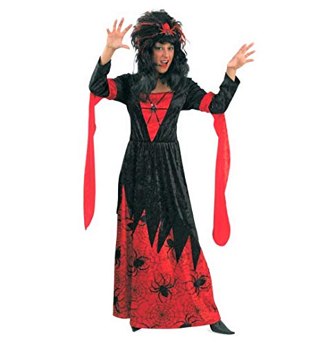 KarnevalsTeufel Damenkostüm Samantha Spinnenfrau Kleid in rot-schwarz mit Spinnenaufdruck Kostüm für Erwachsene (36) (Schwarze Spinnenfrau Kostüm)