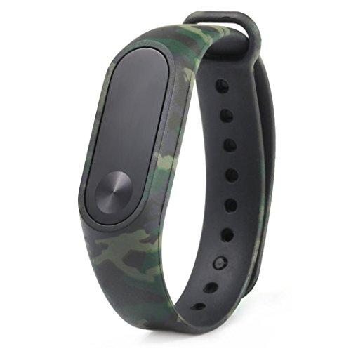 OVERDOSE Xiaomi MI Band 2 Armband, 2017 Camouflage Pattern Strap Wristband Armband Ersatz für Xiaomi MI Band 2 (Grün)