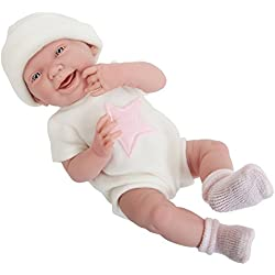 All-Vinyl Newborn Doll in White/Pink Star Theme Onesie. REAL GIRL!