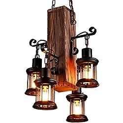 Lámpara colgante Retro Madera industriales Lámpara de techo Vintage Candelabros Antiguo Colgante E27 vidrio iluminación colgante para salón mesa de comedor restaurante cafetería Hotel rústico estilo