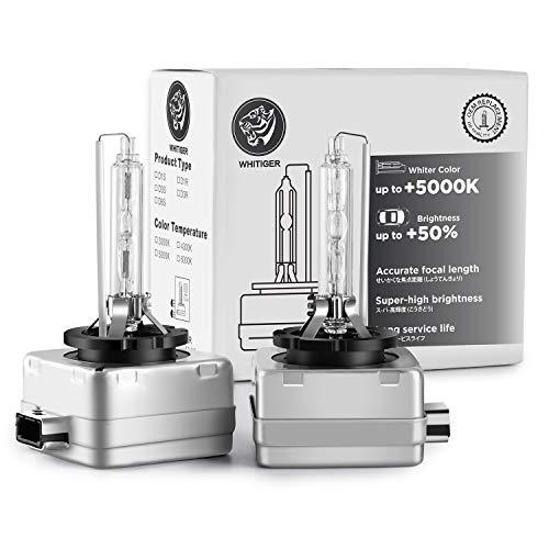 Whitiger D3S Xenon Brenner Scheinwerferlampe 35W 12V HID Autoscheinwerfer können Halogenlampen 6000K Weißlicht ersetzen(2 Stück)