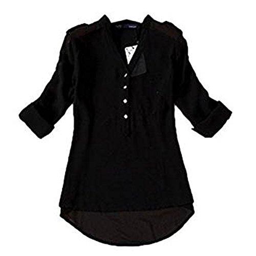 Damen Poncho Blusen Für (Malloom® Frauen V-Ausschnitt Chiffon Langarm Casual Hemd Bluse (Man Kann mehre Danmen Kleid Rock Hose Mantel Schal Sock Handschuhe Schuhe Unterwäsche Bei Kaufen))
