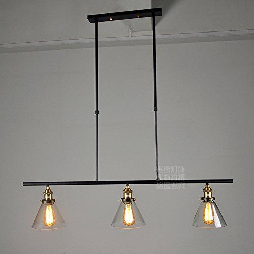 WYMBS Luce del pendente decorazione mobili creativo Lampadario in ferro battuto tre cristallo cono