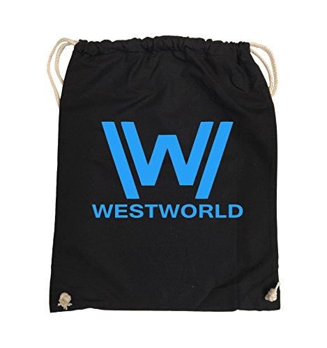 Borse Comiche - Westworld - Logo - Turnbeutel - 37x46cm - Colore: Nero / Rosa Nero / Blu