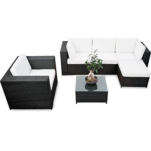 XINRO erweiterbares 18tlg. Lounge Set Polyrattan kaufen - schwarz - Sitzgruppe Garnitur Gartenmöbel...