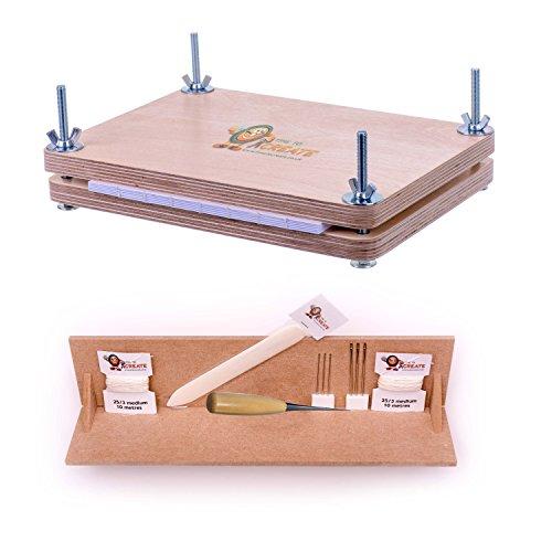Buchbinde-Starter-Set mit Buchpresse–enthält Werkzeug für Buchbinderei–Knochen-Falzbein, Ahle, Nadeln, gewachsten Leinenfaden, Buchpresse und Stanz-Vorrichtung Test