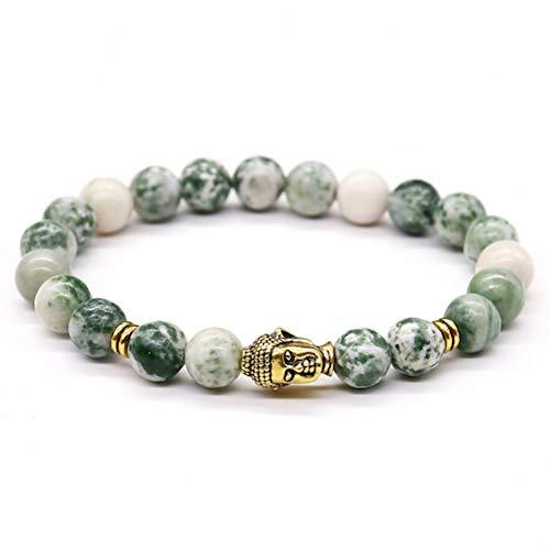 YCWDCS Armband Modeschmuck Baum Onyx Energie Stein Perlen Buddha Armbänder Für Männer Geschenk Yoga Reiki Gebet Bijoux, Frauen Armband Party Geschenk (Halloween-party Die Gebet Für)
