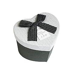 Idea Regalo - Emartbuy Lusso Rigido a Forma di Cuore Confezione Regalo di Presentazione, Scatola Grigia Con Coperchio Bianco, Color Interno Cioccolato e Nastro Grigio