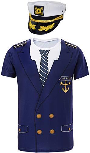 Cosavorock Herren Kapitän Kostüm T-Shirts mit Kapitän Hüte (M, Marine)