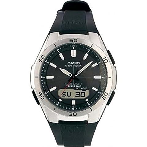Casio - Homme - WVA-M640-1AER - Quartz Analogique - Digital - Radio Piloté - Solaire - Chronomètre - Compte à Rebours - Cadre Noir - Noir - Résine