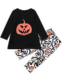 JYC Conjuntos para niñas Bebe,Conjuntos para Bebes,Bebé Halloween Calabaza Impresión Tops Camiseta+Pantalones Familia Pareo Conjuntos