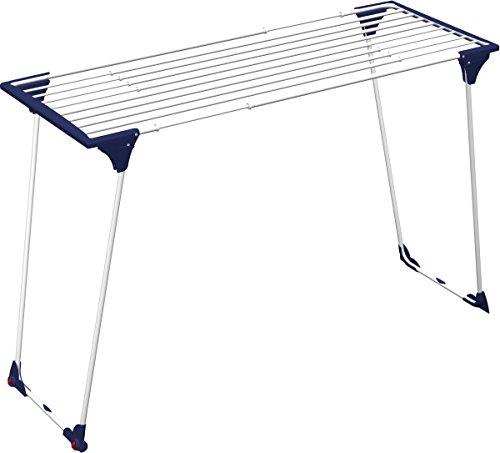 Gimi Dinamik20 Stendibiancheria Estensibile da Pavimento, a Ponte, per Lenzuola, con Ruote, Spazio di Stenditura 20 m, Acciaio, Bianco