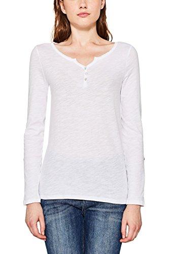 ESPRIT Damen Langarmshirt 087EE1K058, Weiß (White 100), Medium