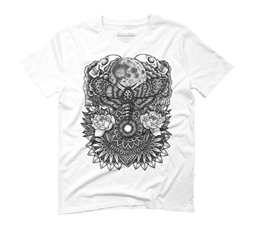 Moth Moon Mandala Men's Graphic T-Shirt - Design By Humans White