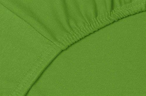 Double Jersey - Spannbettlaken 100% Baumwolle Jersey-Stretch bettlaken, Ultra Weich und Bügelfrei mit bis zu 30cm Stehghöhe, 160x200x30 Grün - 5