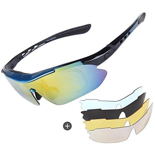 Occhiali da sole polarizzati ciclismo, da uomo da ciclismo da donna cricket sport degli occhi occhiali di protezione con 4lenti intercambiabili uv400protezione per sci equitazione bici running pesca, unisex, blue