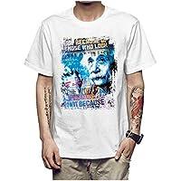 Z-X Camiseta de Manga Corta para Hombre de Diseño Personalizado Americana, Blanco un, l