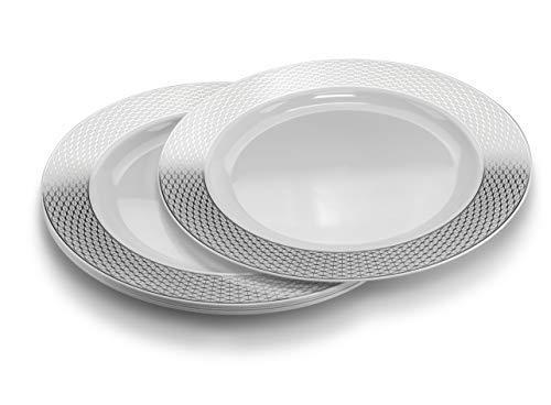 Einwegteller aus Kunststoff, für Hochzeit, Party, 40 Stück Extra Large Dinner Plate/Charger Diamond White/Silver - Design Charger Plate