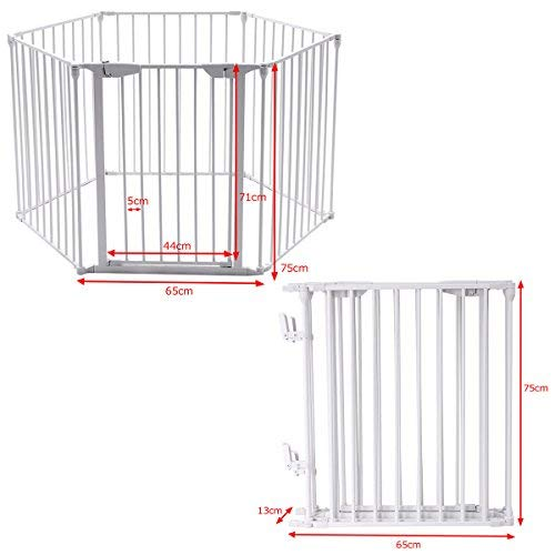 COSTWAY 6&8 Panel Baby Playpen Metal Foldable Design Multiple Use for Pet Fence, Room Divider, Yard Barrie, Fire Guard (6 Panels, White)  COSTWAY