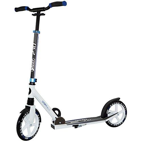 Best Sporting Big Wheel 230 Scooter, Cityroller mit ergonomischen Griffen, Tretroller Farbe: weiß/blau (3-rad-klapp-roller)