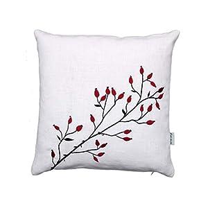 Hagebutten Kissen, rot schwarz bestickt, weißes Leinen, 40×40, 45×45, 50×50 cm Hülle, Weihnachten, Winter Herbst Deko