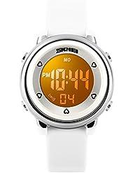 Relojes digitales impermeables/reloj para niños/los hombres y las mujeres, estudiantes, Fashion, reloj lanterne-blanc