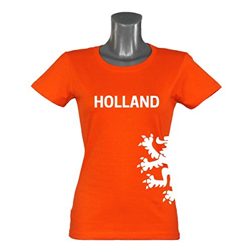 EUR Shirt T-Shirt Holland Löwe Damen orange Gr. S - 2XL Netherlands Niederlande, Größe:S