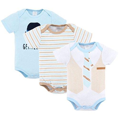 Yuandian neonato unisex bebè body 100% cotone estate manica corta bimba bimbo divertente stampa del fumetto onesies pagliaccetto bambino piccolo regalo pacco da 3 cravatta 9-12 mesi