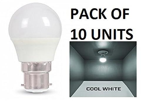 V-TAC LED 3W G45Golf Ball Leuchtmittel–Pack von 10–B22/BC/BAYONET Gap–Cool weiß 6400K/250Lumen/Kunststoff-Finish/entspricht 25W Glühlampe/20.000Stunden durchschnittliche Lebensdauer/nicht dimmbar/220–240V–180Grad Abstrahlwinkel/50Hz/SKU: 7233X 10