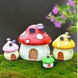 sun-e Juego de 4Color y tamaño en miniatura Jardín de hadas Ornamento de Casa Seta exterior decoración decoración del hogar