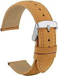 WOCCI - Correa de reloj de piel estilo vintage, color marrón, con hebilla de acero inoxidable, correa de repuesto para hombres y mujeres