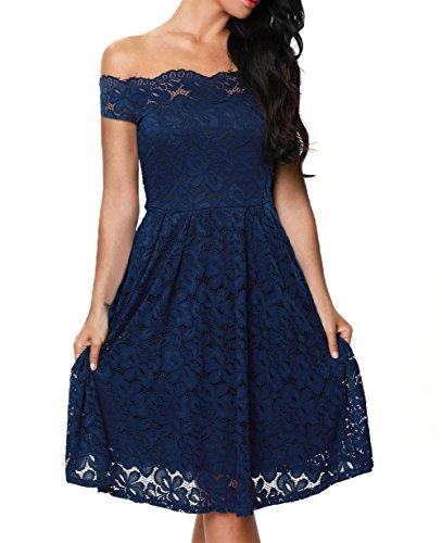TOUVIE Damen Elegant Abendkleid Cocktailkleid Schulterfreies Knielang Festlich Kleider Spitzenkleid Blau M (Blaues Kleid Für Frauen Hochzeit)