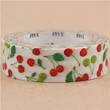 Nastro adesivo decorativo mt ex Washi bianco ciliegie frutta